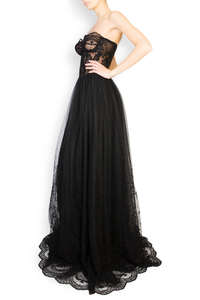 Embroidered lace cotton-blend tulle gown Aureliana image 1