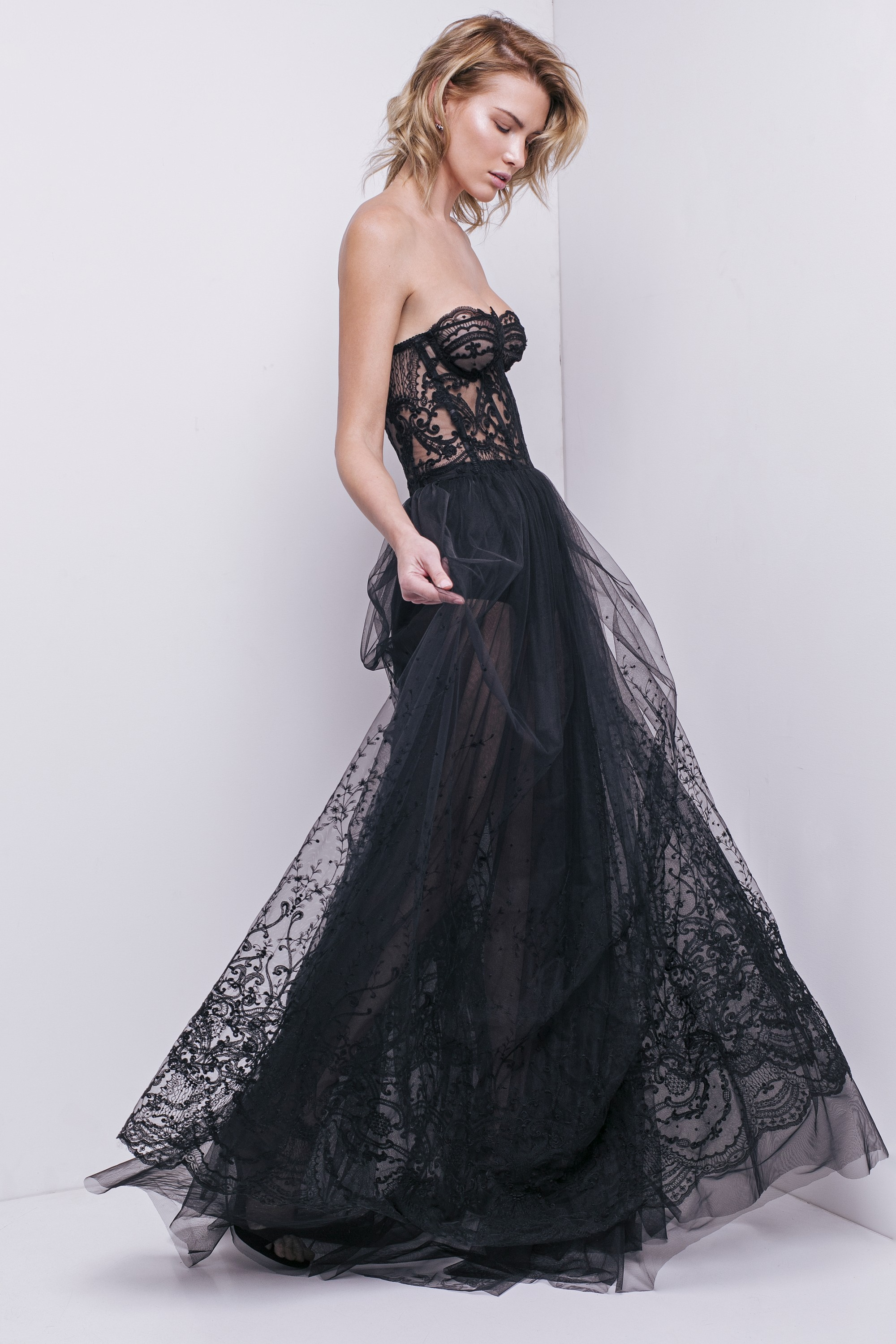 Embroidered lace cotton-blend tulle gown Aureliana image 4