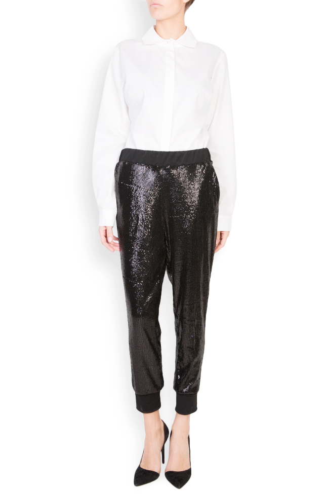 Sharm sequined cotton-mesh tapered pants Shakara image 0