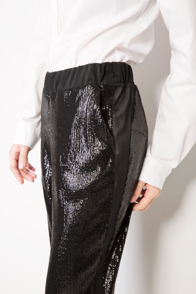 Sharm sequined cotton-mesh tapered pants Shakara image 3