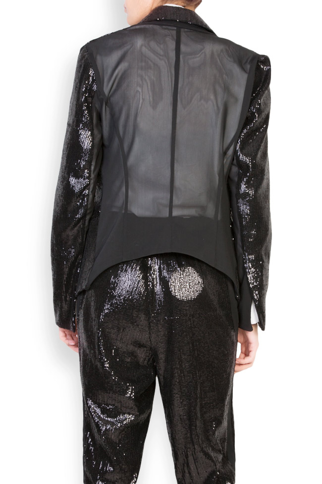 Inoue sequined crepe de chine paneled blazer Shakara image 2