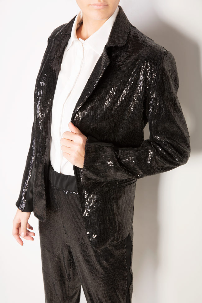Inoue sequined crepe de chine paneled blazer Shakara image 3