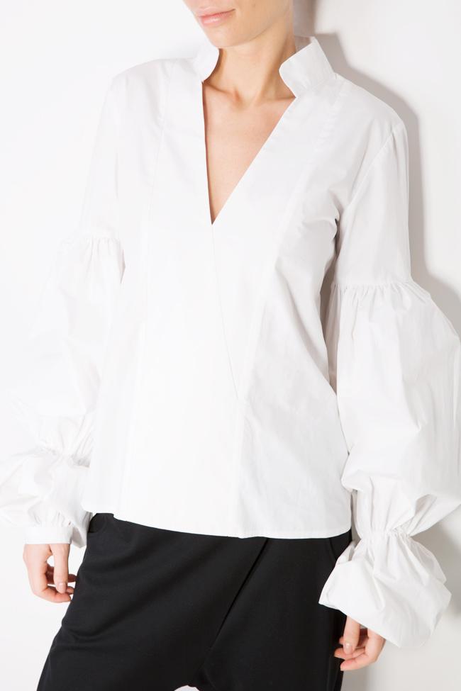 Bluza din bumbac poplin cu maneci bufante Bluzat imagine 3