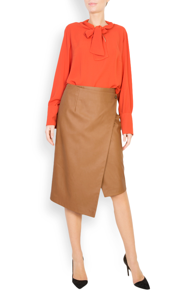 Wrap-effect faux leather skirt Acob a Porter image 0