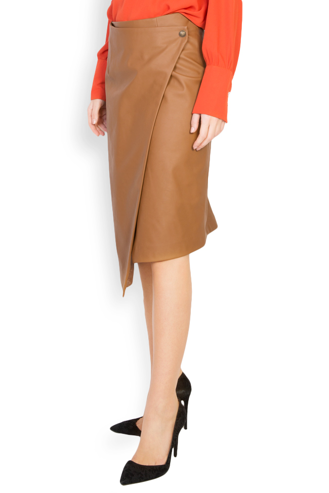 Wrap-effect faux leather skirt Acob a Porter image 1
