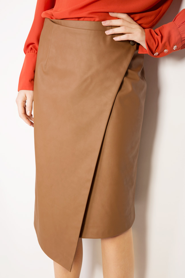 Wrap-effect faux leather skirt Acob a Porter image 3