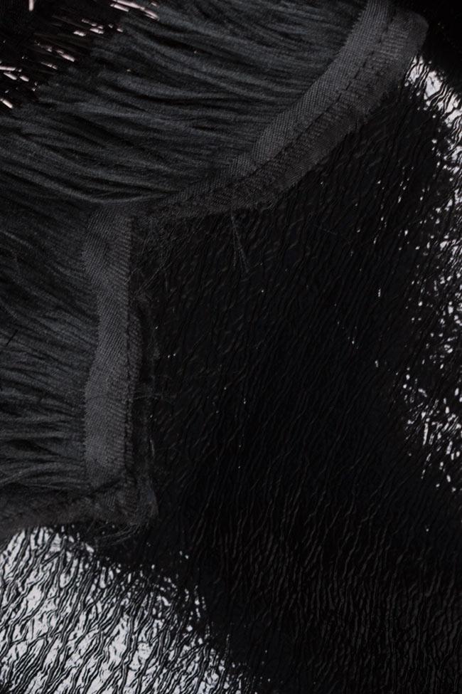 Rochie din piele ecologica cu franjuri de matase Dana Lucia Olaru imagine 4