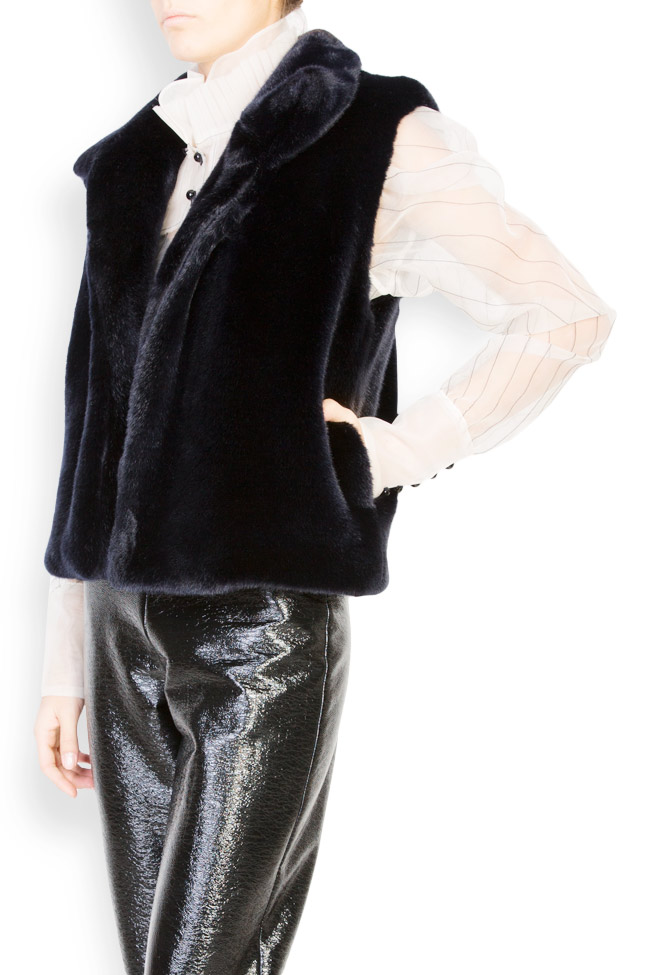 Vesta din blana ecologica cu buzunare laterale Lucia Olaru imagine 1