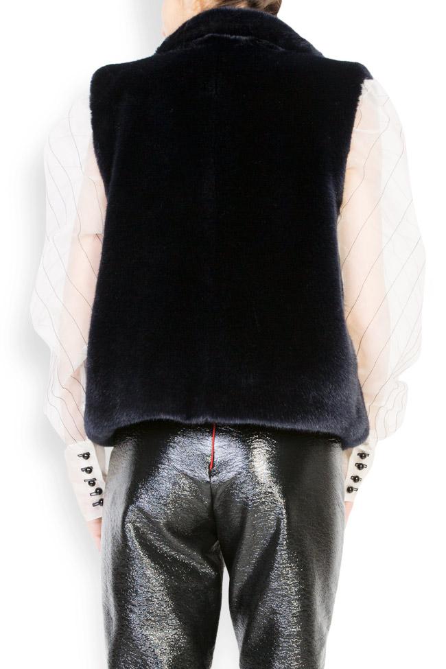 Vesta din blana ecologica cu buzunare laterale Lucia Olaru imagine 2
