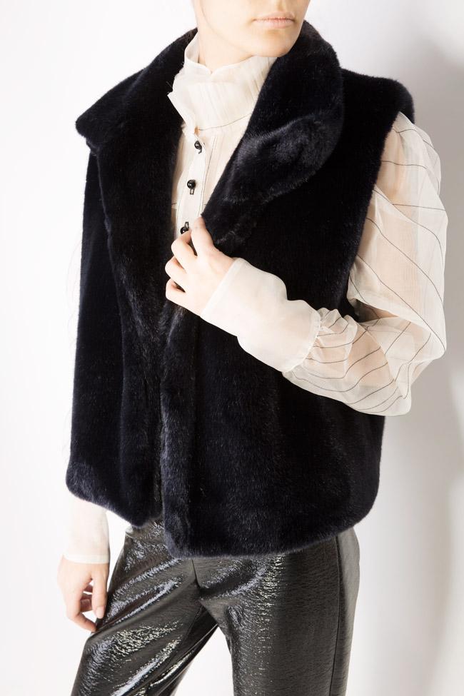 Vesta din blana ecologica cu buzunare laterale Lucia Olaru imagine 3