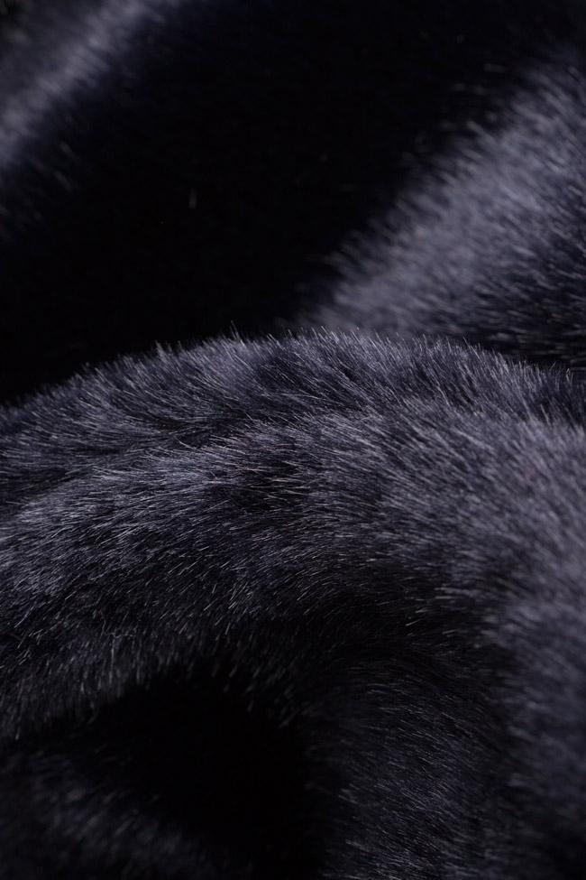 Vesta din blana ecologica cu buzunare laterale Lucia Olaru imagine 4