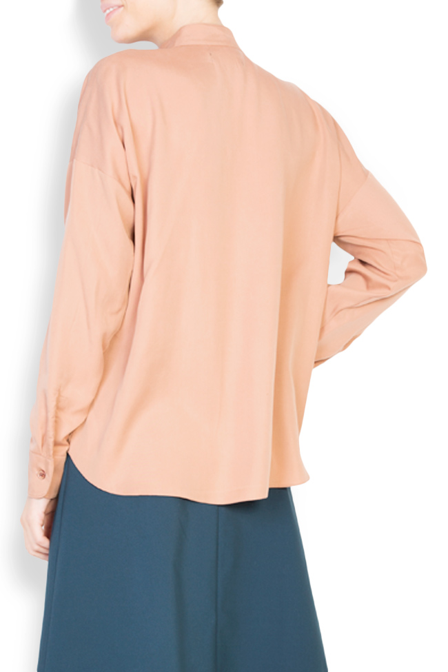 Camasa supradimensionata din crep cu guler tunica Undress imagine 2