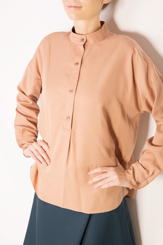 Camasa supradimensionata din crep cu guler tunica Undress imagine 3
