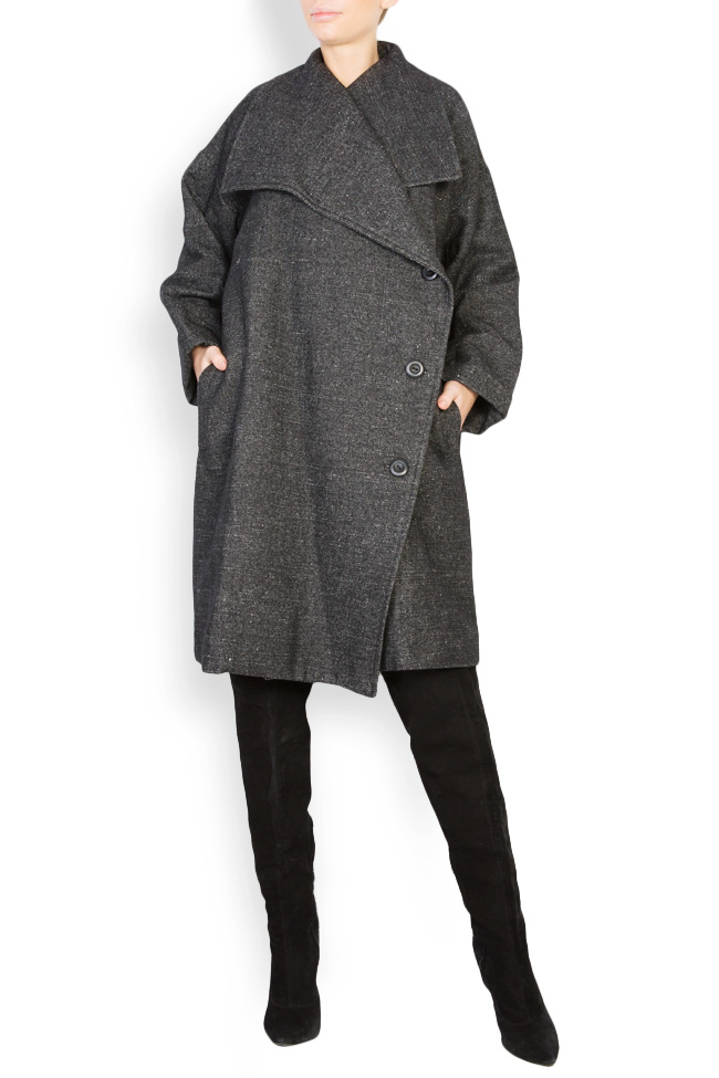 Button embellished two tones oversized wool coat Undress image 0