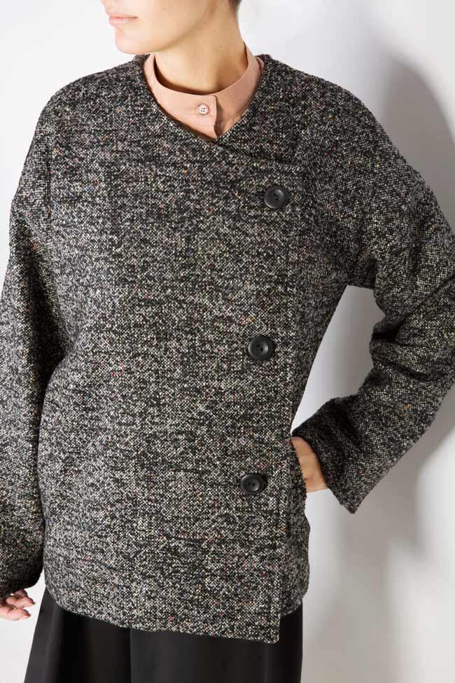 Side button embellished wool coat Undress image 3