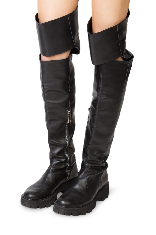 Cutout leather over-the-knee boots Traces of Heels image 3