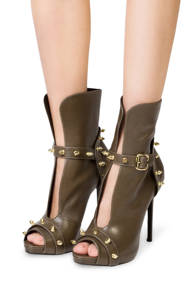 Studded leather ankle boots  Traces of Heels image 3