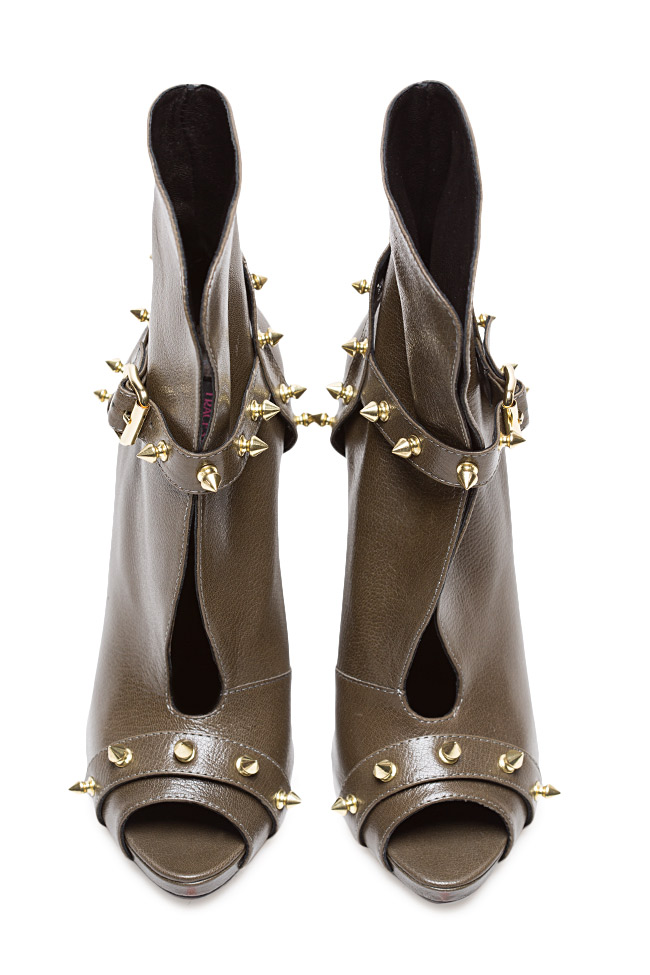 Studded leather ankle boots  Traces of Heels image 2
