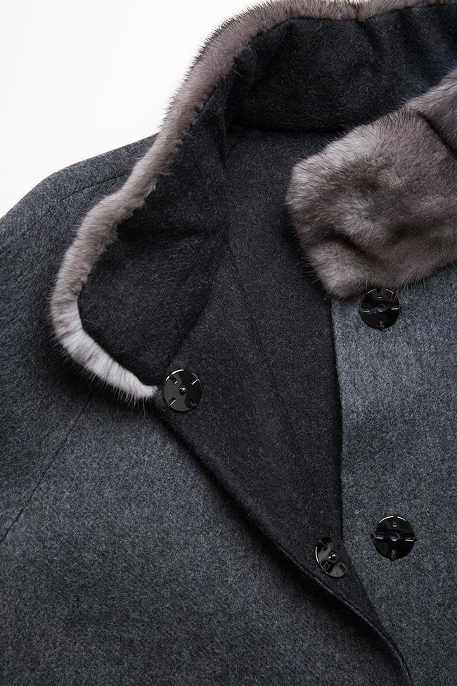 Palton din amestec de lana si alpaca cu insertii din blana de vizon  Elora Ascott imagine 5