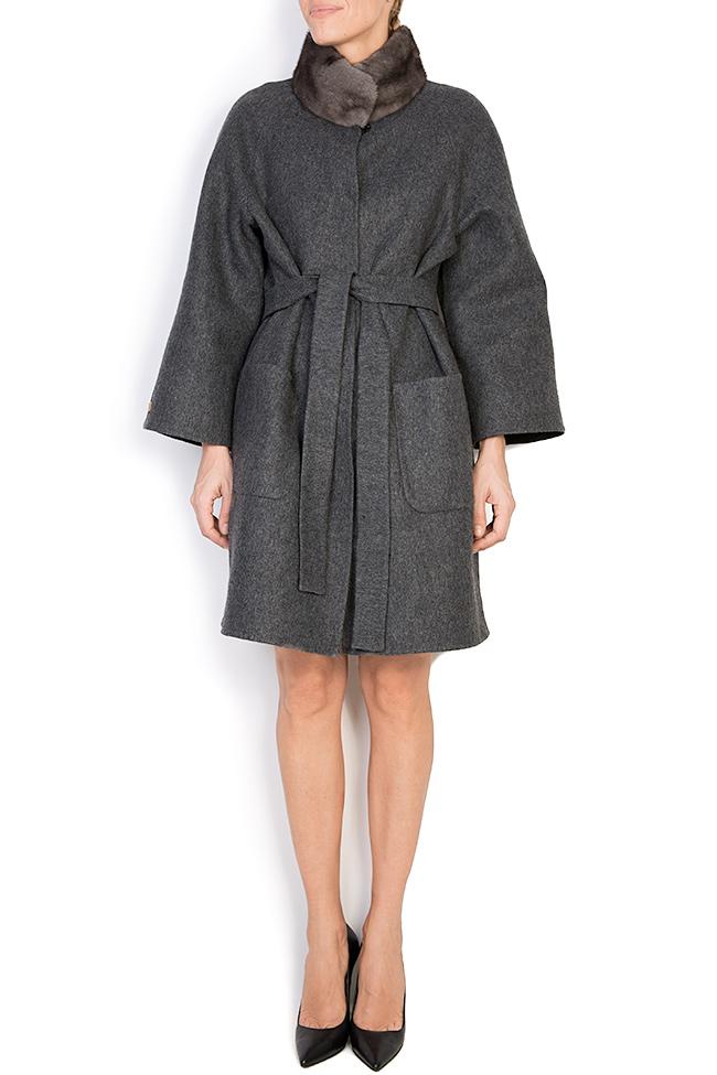 Palton din amestec de lana si alpaca cu insertii din blana de vizon  Elora Ascott imagine 0