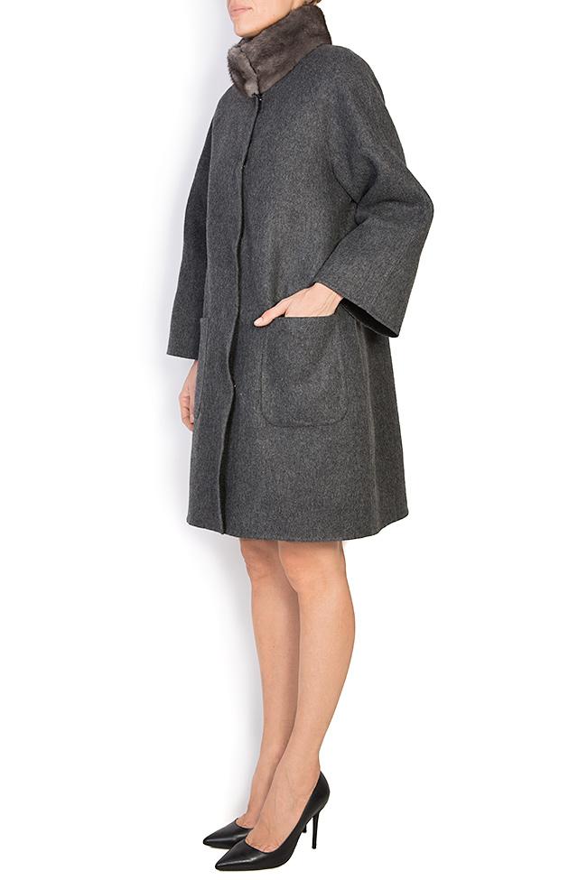 Palton din amestec de lana si alpaca cu insertii din blana de vizon  Elora Ascott imagine 1