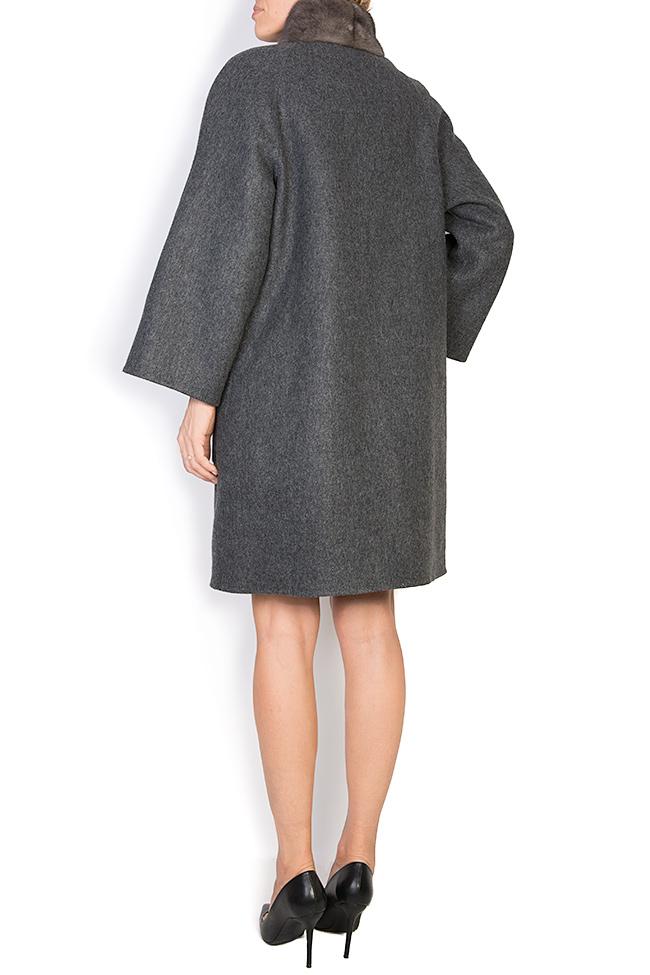 Palton din amestec de lana si alpaca cu insertii din blana de vizon  Elora Ascott imagine 2