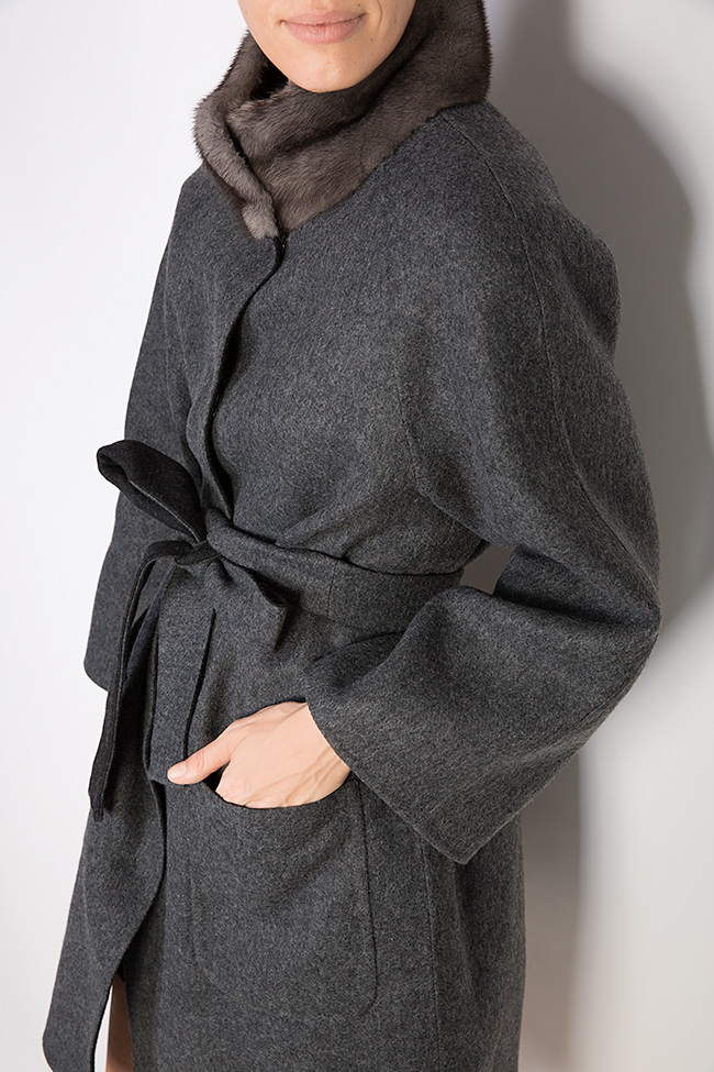 Palton din amestec de lana si alpaca cu insertii din blana de vizon  Elora Ascott imagine 3