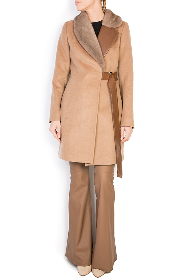Mink fur leather-paneled wool and cashmere-blend coat  Elora Ascott image 0
