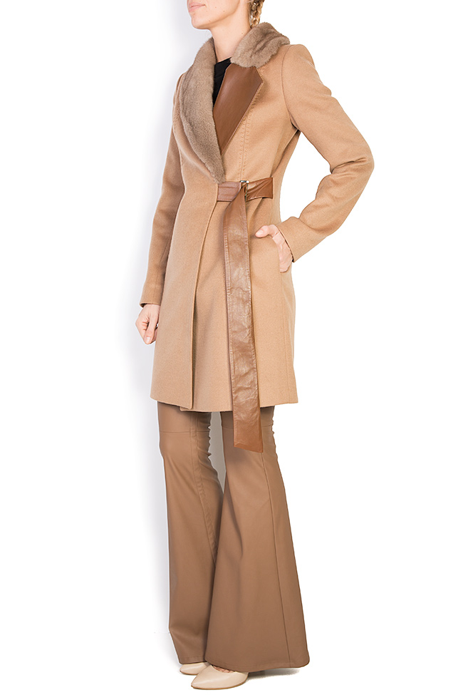 Mink fur leather-paneled wool and cashmere-blend coat  Elora Ascott image 1