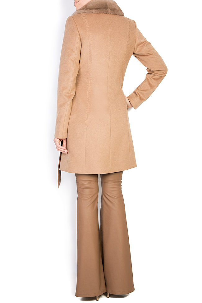 Mink fur leather-paneled wool and cashmere-blend coat  Elora Ascott image 2
