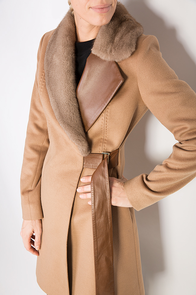 Mink fur leather-paneled wool and cashmere-blend coat  Elora Ascott image 3