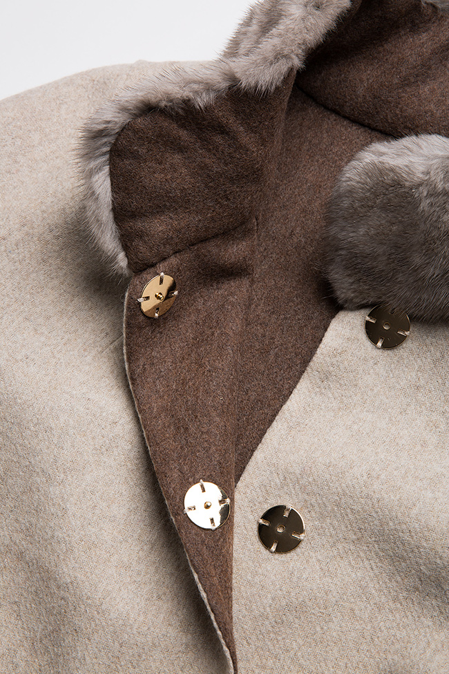 Mink fur leather-paneled wool and alpaca-blend jacket Elora Ascott image 5