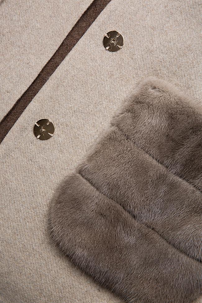Mink fur leather-paneled wool and alpaca-blend jacket Elora Ascott image 6