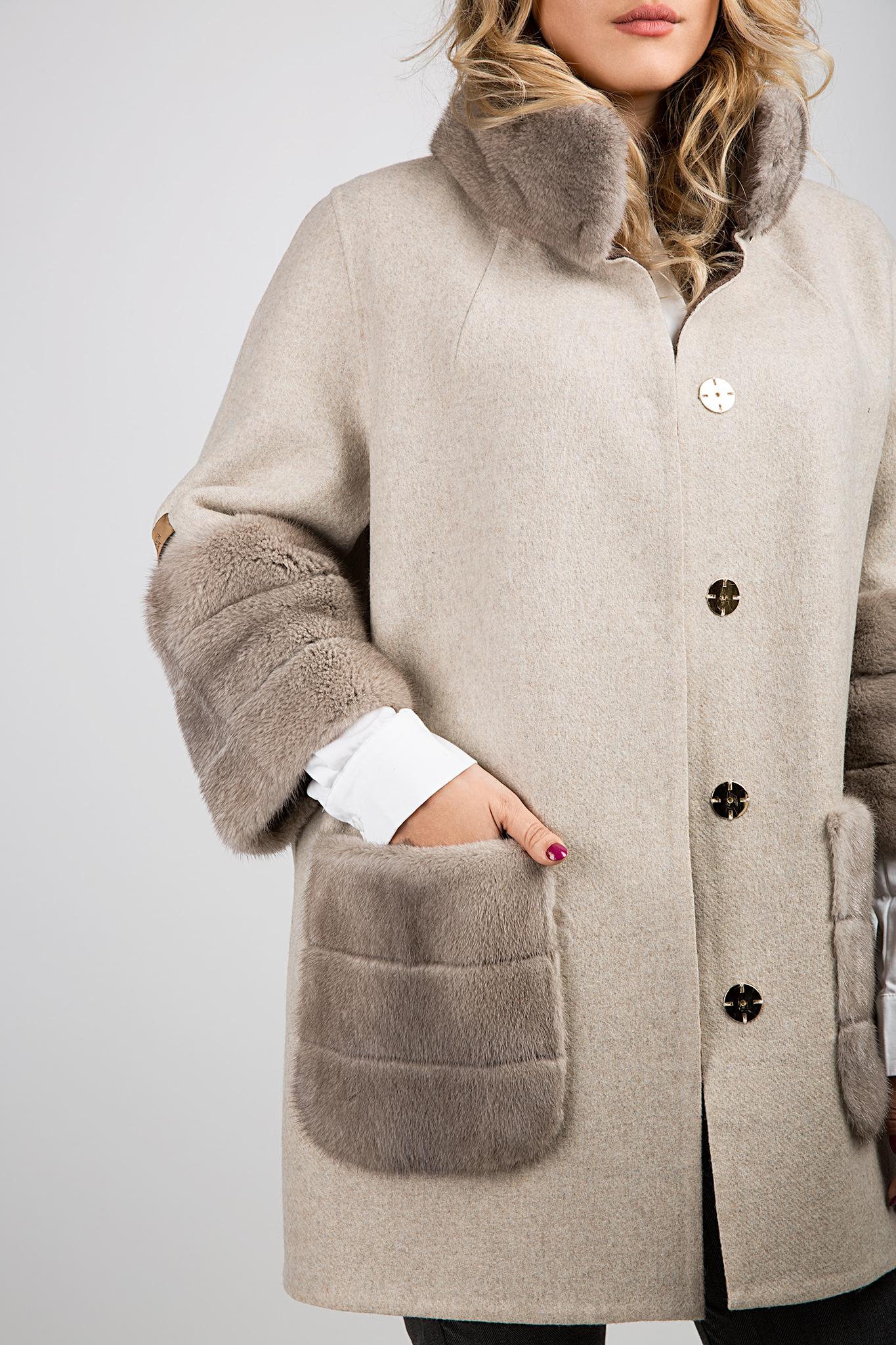 Manteau en laine et alpaga avec col en fourrure Elora Ascott image 4