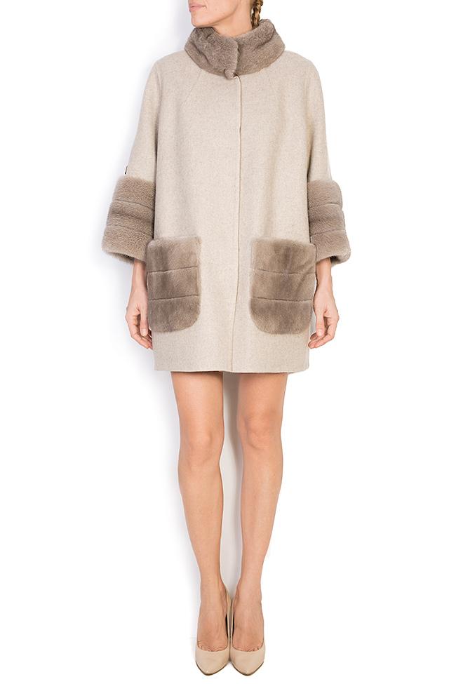 Mink fur leather-paneled wool and alpaca-blend jacket Elora Ascott image 0