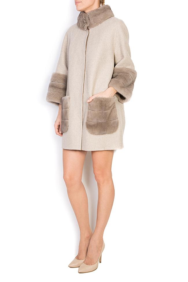 Mink fur leather-paneled wool and alpaca-blend jacket Elora Ascott image 1