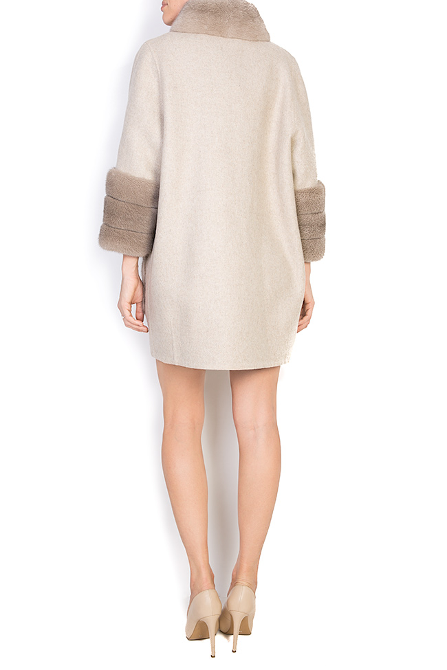 Mink fur leather-paneled wool and alpaca-blend jacket Elora Ascott image 2
