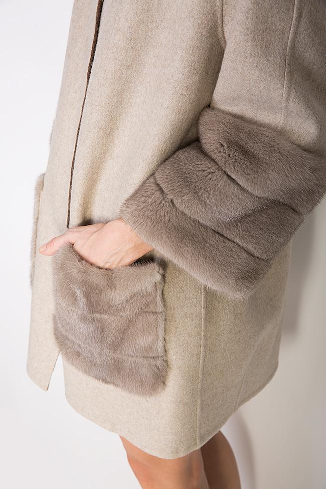 Mink fur leather-paneled wool and alpaca-blend jacket Elora Ascott image 3