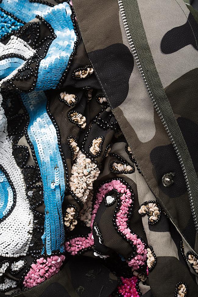 Jacheta supradimensionata din voal creponat brodat cu paiete Aje Aester imagine 4