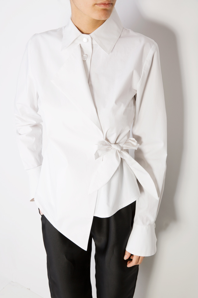 Asymmetric cotton poplin shirt DALB by Mihaela Dulgheru image 3