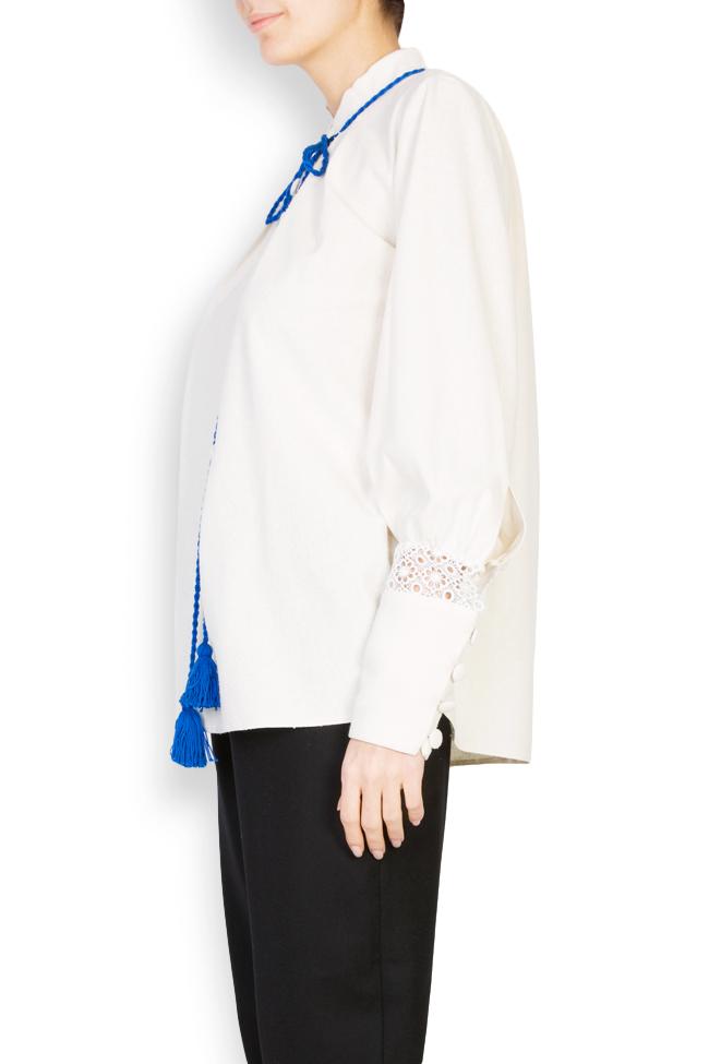 Hand-embroidered silk borangic blouse Izabela Mandoiu image 1