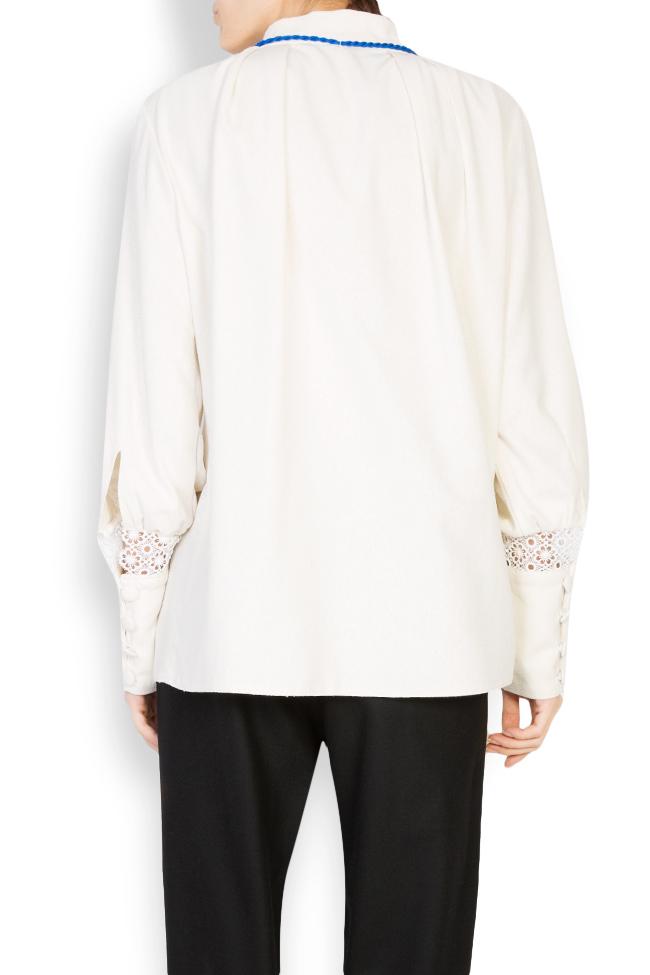 Hand-embroidered silk borangic blouse Izabela Mandoiu image 2
