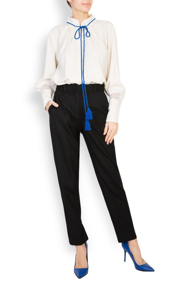 Hand-embroidered silk borangic blouse Izabela Mandoiu image 0