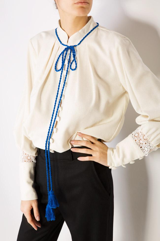 Hand-embroidered silk borangic blouse Izabela Mandoiu image 3