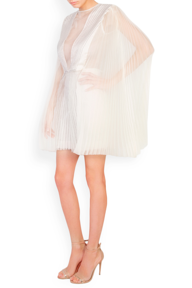 Cape-effect pleated silk organza mini dress LUWA image 1