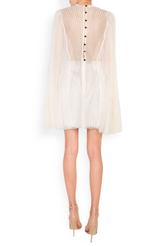 Cape-effect pleated silk organza mini dress LUWA image 2