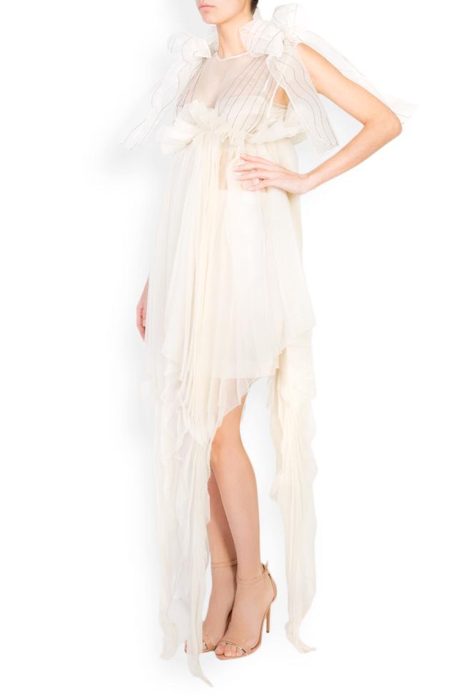 Asymmetric bow-detailed silk organza midi dress LUWA image 1