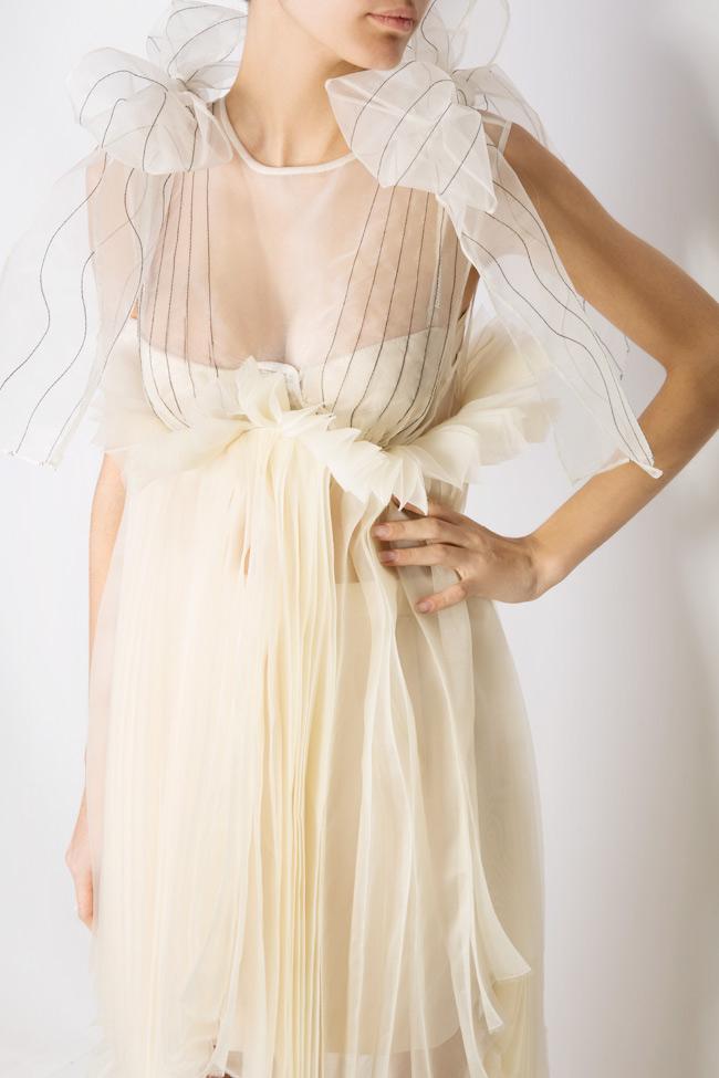 Asymmetric bow-detailed silk organza midi dress LUWA image 3