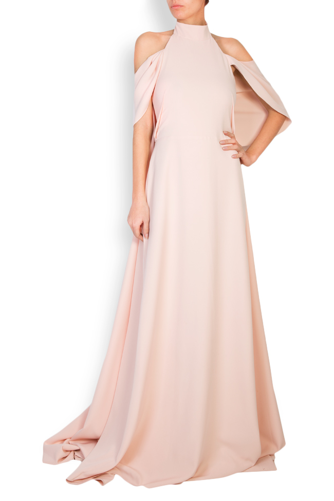 Elaine cape effect halterneck crepe gown Simona Semen image 0