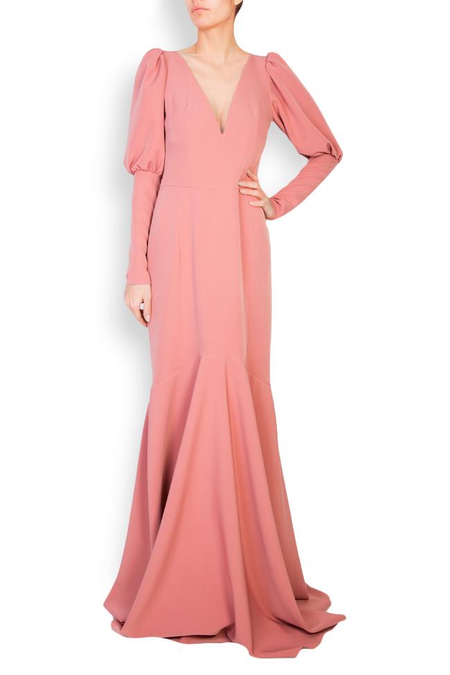 Elara open-back tulle-paneled crepe gown Simona Semen image 0